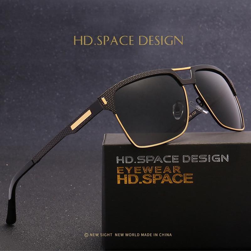 HD.SPACE Original Brand Sunglasses Men Polarized Lens Vintage Eyewear Accessories Gold Sun Glasses Retro Oculos For Men 2017