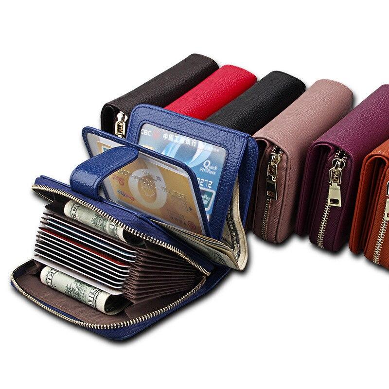 Женские бумажники из натуральной воловьей кожи 755-40, с защитой от кражи, RFID