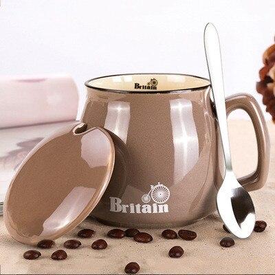 Creativa taza de café de cerámica con tapa y cuchara vaso de viaje tazas y tazas de té de la leche juegos de taza de chico pareja taza Groot Moomin bebé