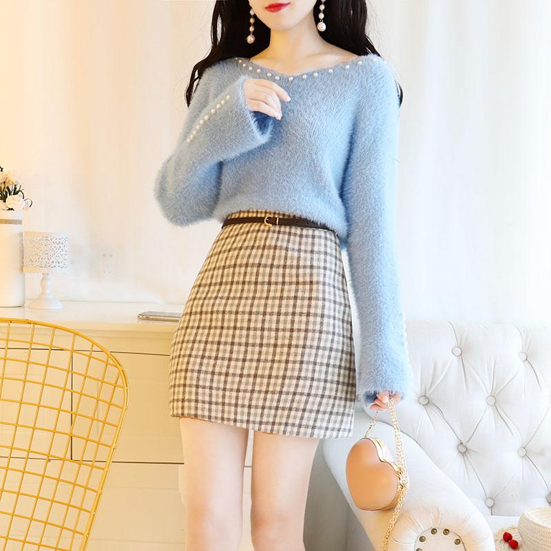 Otoño 2018 invierno faldas a cuadros clavo suéter superior ropa de dos piezas conjunto de ropa de las mujeres trajes de Vestido Twinset básico