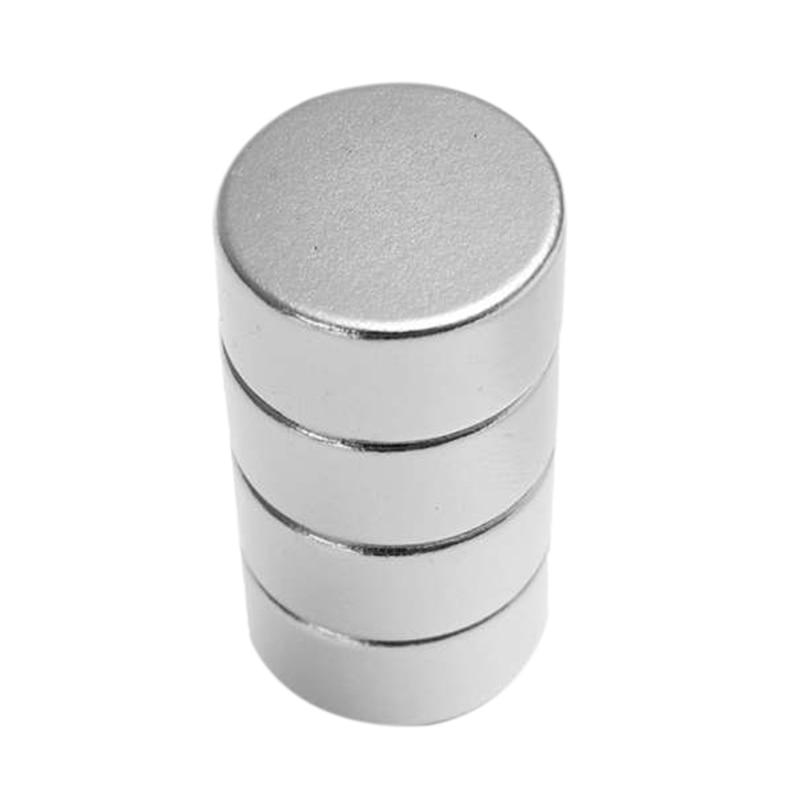 Paquete de 4 imanes de neodimio de imán redondo de tierras raras de plata de 20Mm X 10Mm