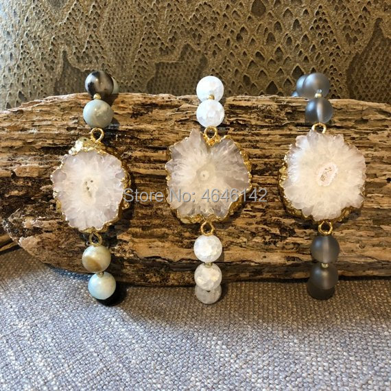 Amazonite And Agates Crystal Beaded Stalactite Connector Boho Stretch Bracelet