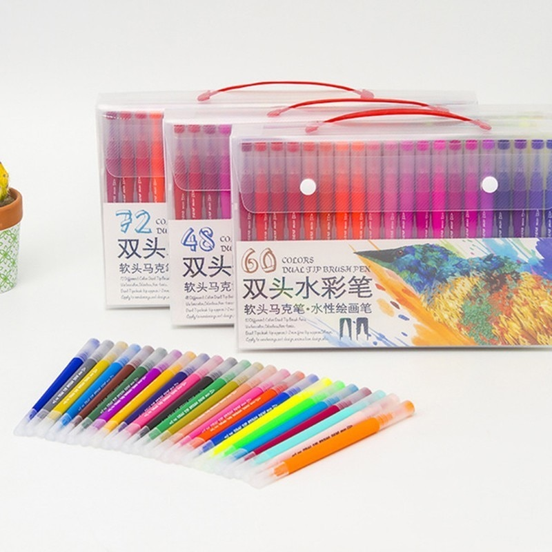 12/24/36/48/60/80/100 Colors Fineliner Drawing Painting Watercolor Art Marker Pens Dual Tip Brush Pen School Supplies Stationery недорого