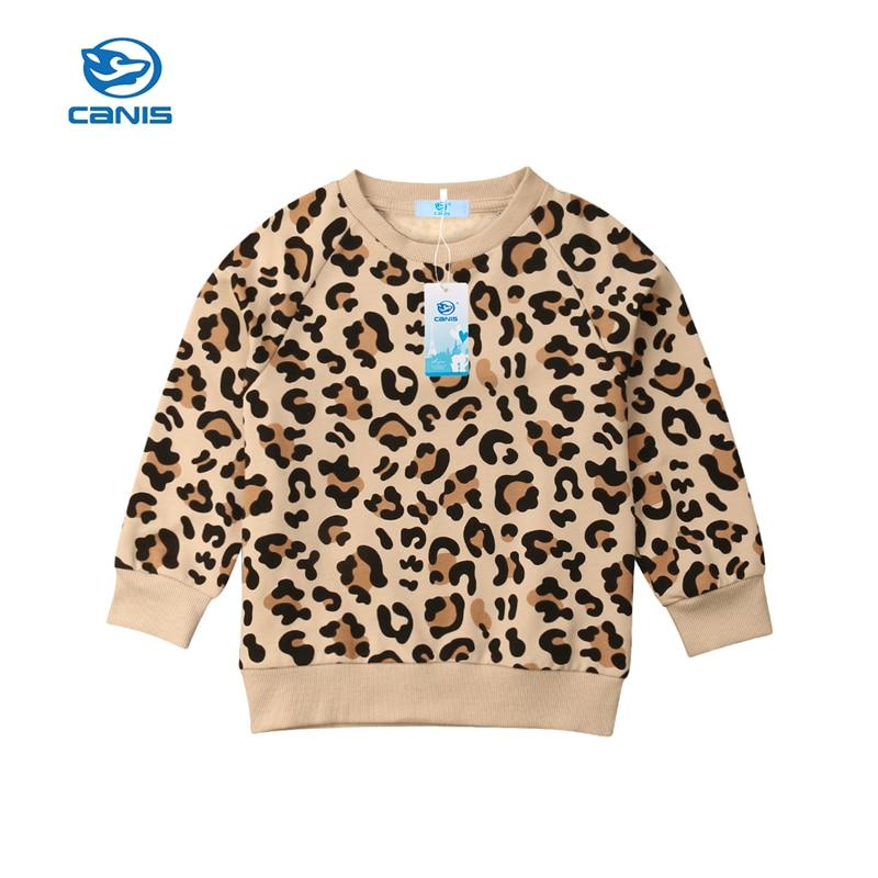CANIS 2019 nuevo niño niños bebé niña niño tops con estampado de leopardo sudaderas abrigo chaqueta 1-7Y