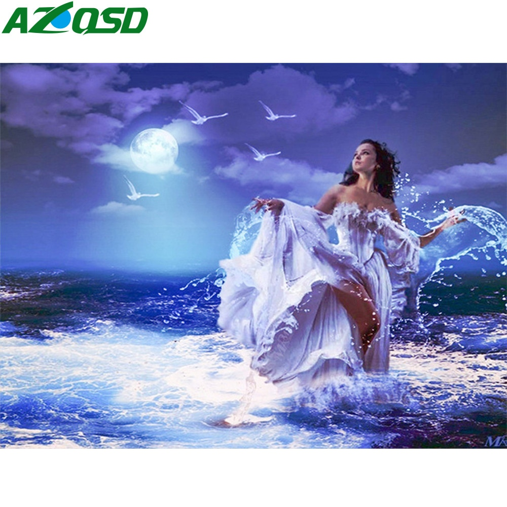 Azqsd pintura diamante noite paisagem diamante mosaico menina mar cenário ponto cruz diamante bordado strass decoração da sua casa
