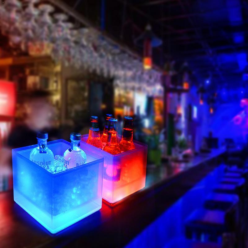 Cubo de hielo LED para champán, vino, bebidas, cerveza, Enfriador de hielo para restaurantes, bares, discotecas, KTV Pub, fiesta de 3,5 L brillante