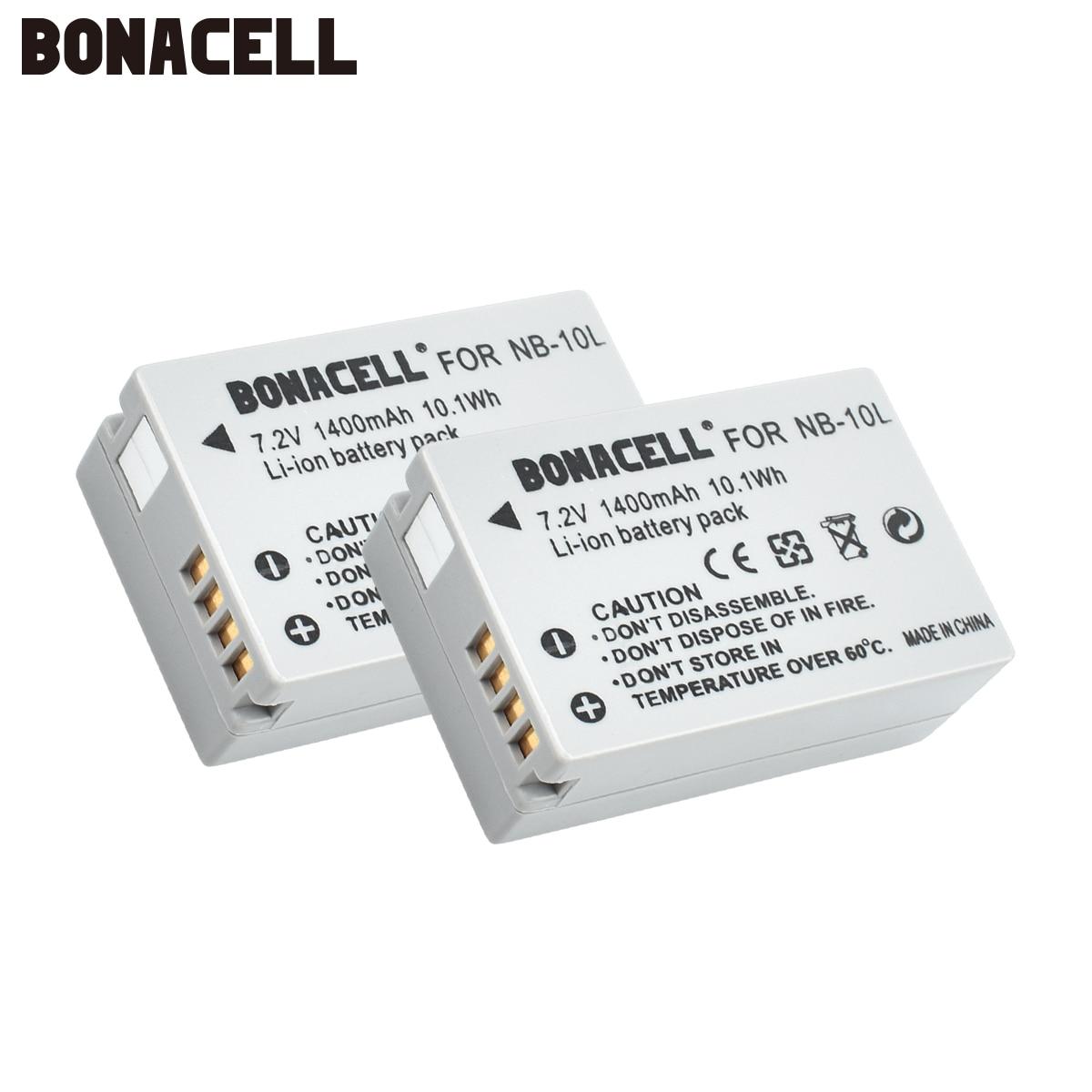 Bonacell 7,2 V 1400mAh NB-10L NB10L NB 10L baterías para Canon G1X G15 G16 SX40HS SX50HS SX60HS SX40 SX50 SX60 HS Bateria L50