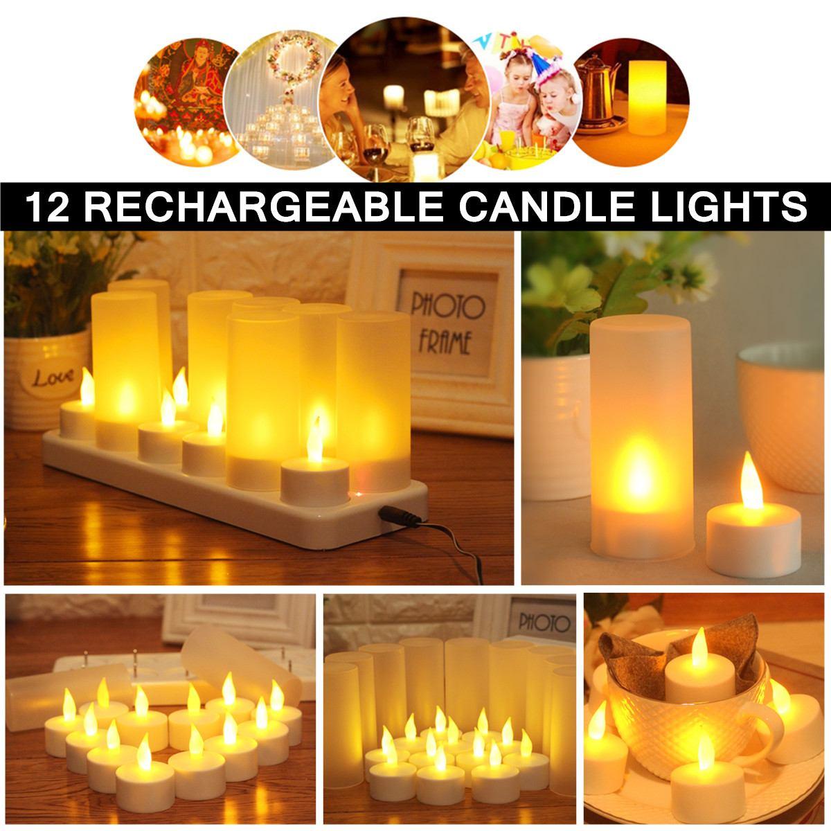 12 led vela lâmpada criativa recarregável cintilação vela luz da noite simulação chama chá luz para casa decoração de casamento