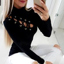 Vrouwen Lace-up Sexy Effen Zwarte Basic Top Oogje Hollow Out Coltrui Kantoor Stijl T-shirt Lange Mouw Casual shirt