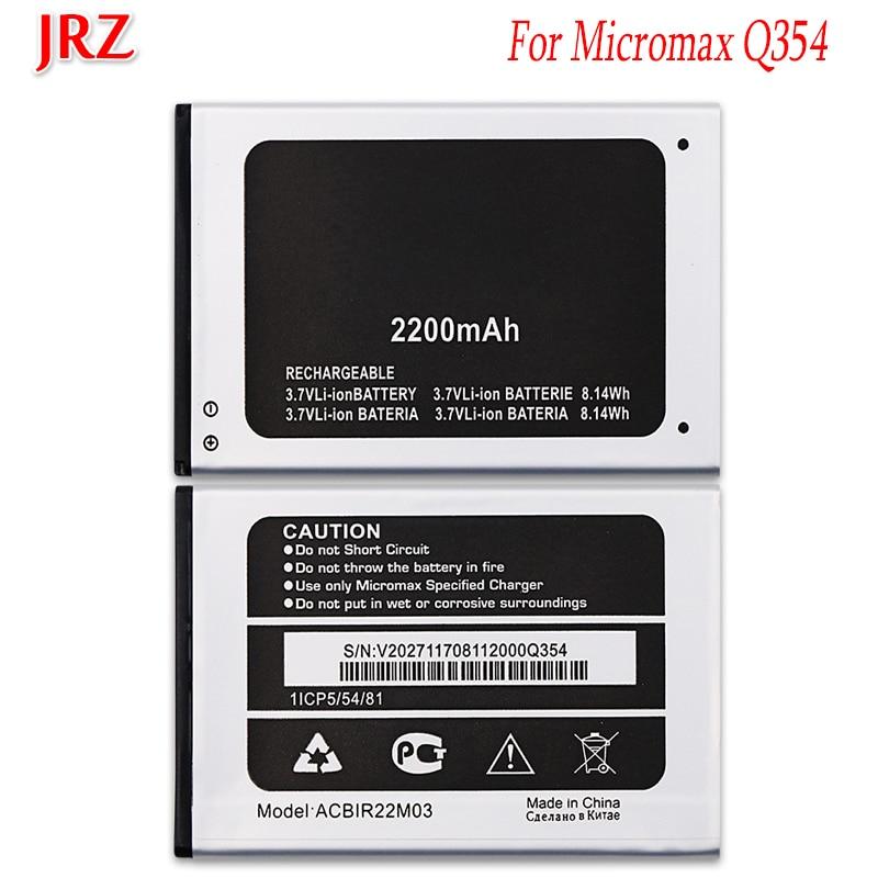 JRZ 3,7 V 2200mAh batería de alta calidad para Micromax Q354 baterías de reemplazo de teléfono Bateria para Micromax Bolt Q354 ACBIR22M03