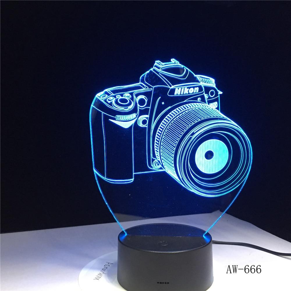 Nikon lampe de Table en acrylique, caméra 3D Led, lumières colorées, hologramme pour enfants, lampe de Table, atmosphère, lampe à veilleuse Led, mignon