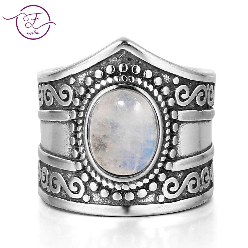 Nueva joyería fina Vintage 7*9MM anillos de piedra lunar de arco iris 925 Plata de ley para regalos de aniversario de las mujeres