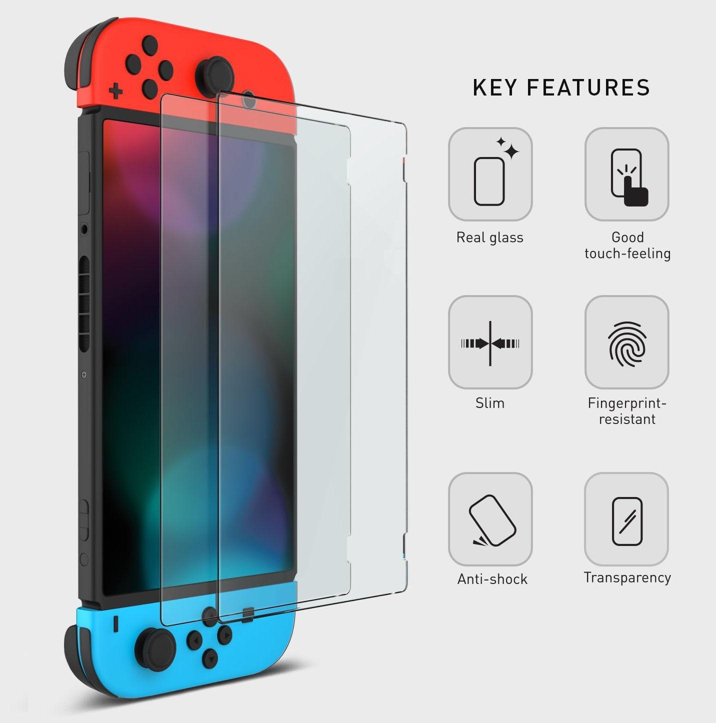 OSTENT 2 x protector de pantalla de película de vidrio templado protector de piel para consola Nintendo Switch