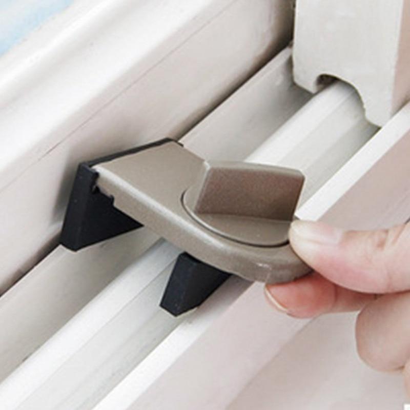 Cerradura de Corredera Tapón de Gabinete Material Ferro Ajustable de Seguridad Ventana Tapón de Cuña con Cubierta de Goma 6X4X2,4cm Duradera