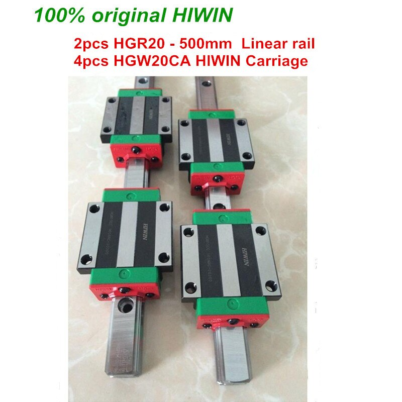 HGR20 HIWIN linear rail: 2pcs 100% original HIWIN rail HGR20 - 500mm rail + 4pcs HGW20CA blocks for cnc router