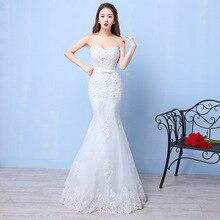 Mingli Tengda mariée luxe dentelle robes De mariée robes perlée sirène robe De mariée Appliques Sexy bateau cou robes De Novia