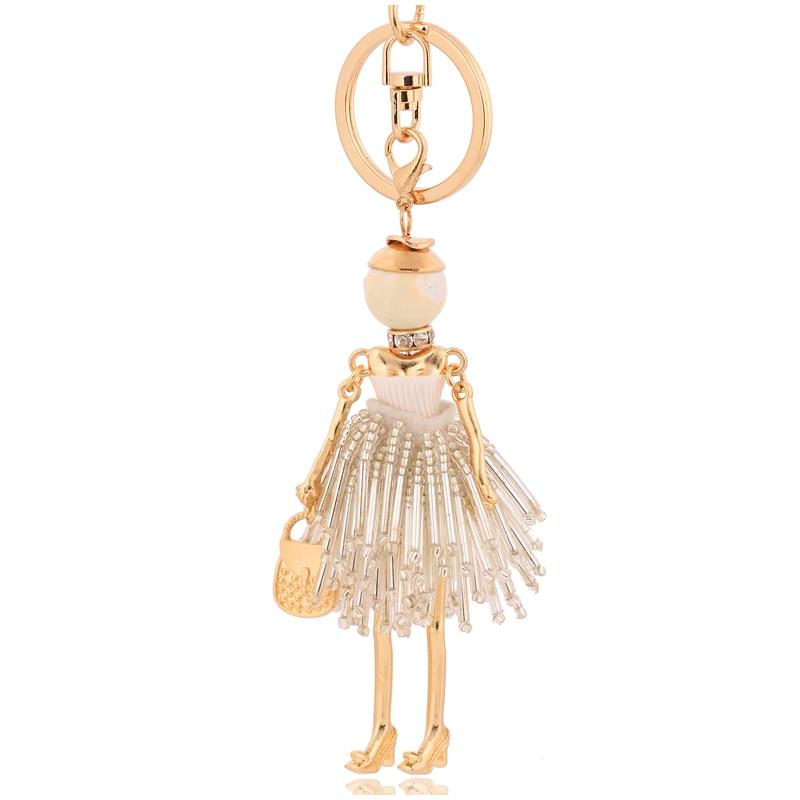 Chaveiros de cristal populer jóias branco strass chaveiros anéis borla chaveiro feminino menina moda 2019 jóias