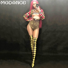 Women Sexy Jumpsuit 3D Printing Party Nightclub Party Bodysuit Stage Wear Singer Dancer Costumes