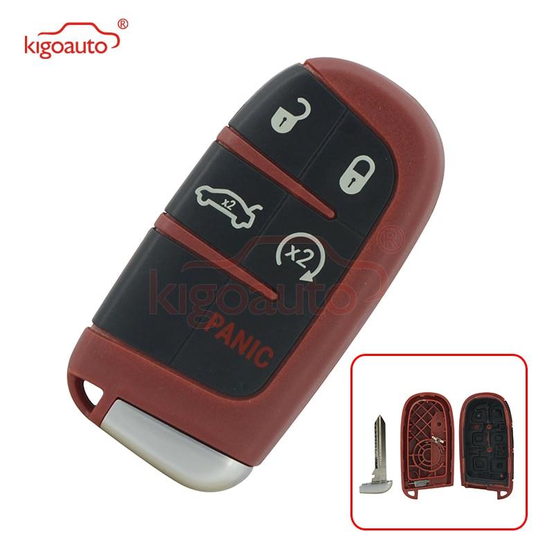 Kigoauto Red Smart key case 4+1 button for Dodge Charger Challenger Chrysler 300 M3N-40821302
