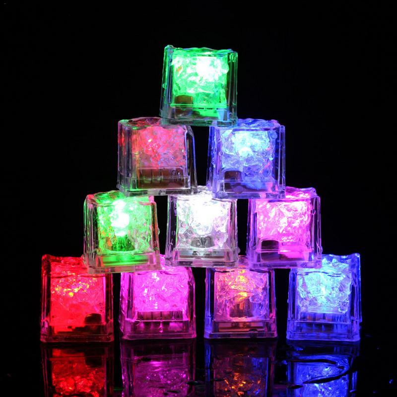 12 Uds cubo de hielo ligero DIY/luz nocturna con sensor táctil colorido/cubos de hielo con flash LED Dropshipping