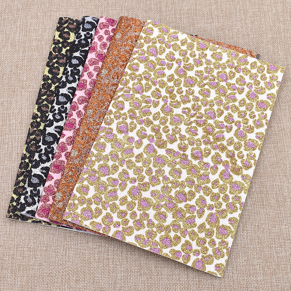 Tela de cuero artificiales brillosas con patrón de leopardo multicolor A4 29*21cm DIY, artesanías hechas a mano, bolsa de ropa, zapatos de costura de retazos
