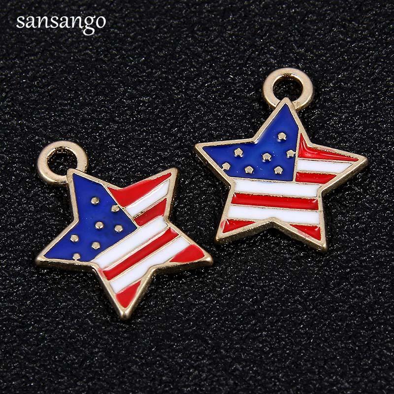 10 Pcs National Flag Pattern Pentagram Shape Alloy Enamel Pendant For Making Charm Bracelets Fashion Jewelry Findings 1.7*1.5cm