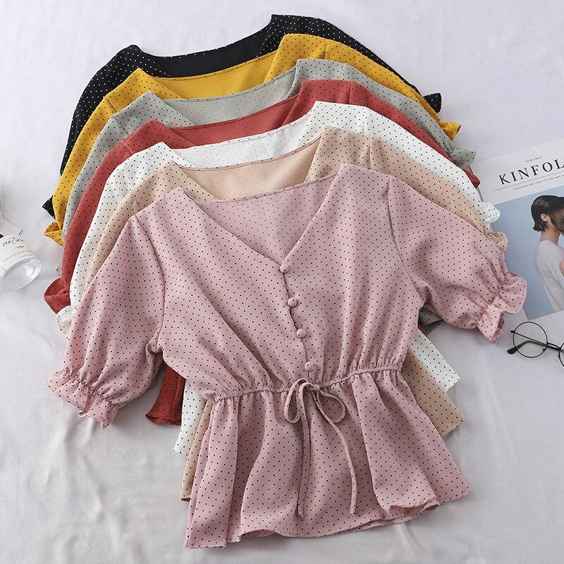 Chic Women Chiffon Shirt Kawaii Polka Dot Butterfly Sleeve Summer Shirt 2019 Korean Casual V-Neck Ladies Button Lace Up Shirt