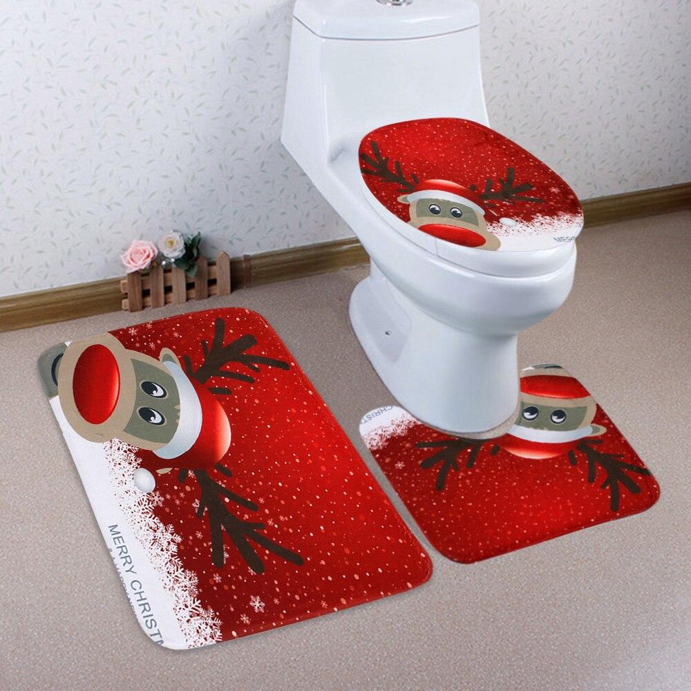 3 Pcs Toilet Mat Bath Mat Christmas Deer Pattern Non-Slip Pedestal Rug Bathroom Toilet Cover Set Barthroom Floor Bath Mat Set