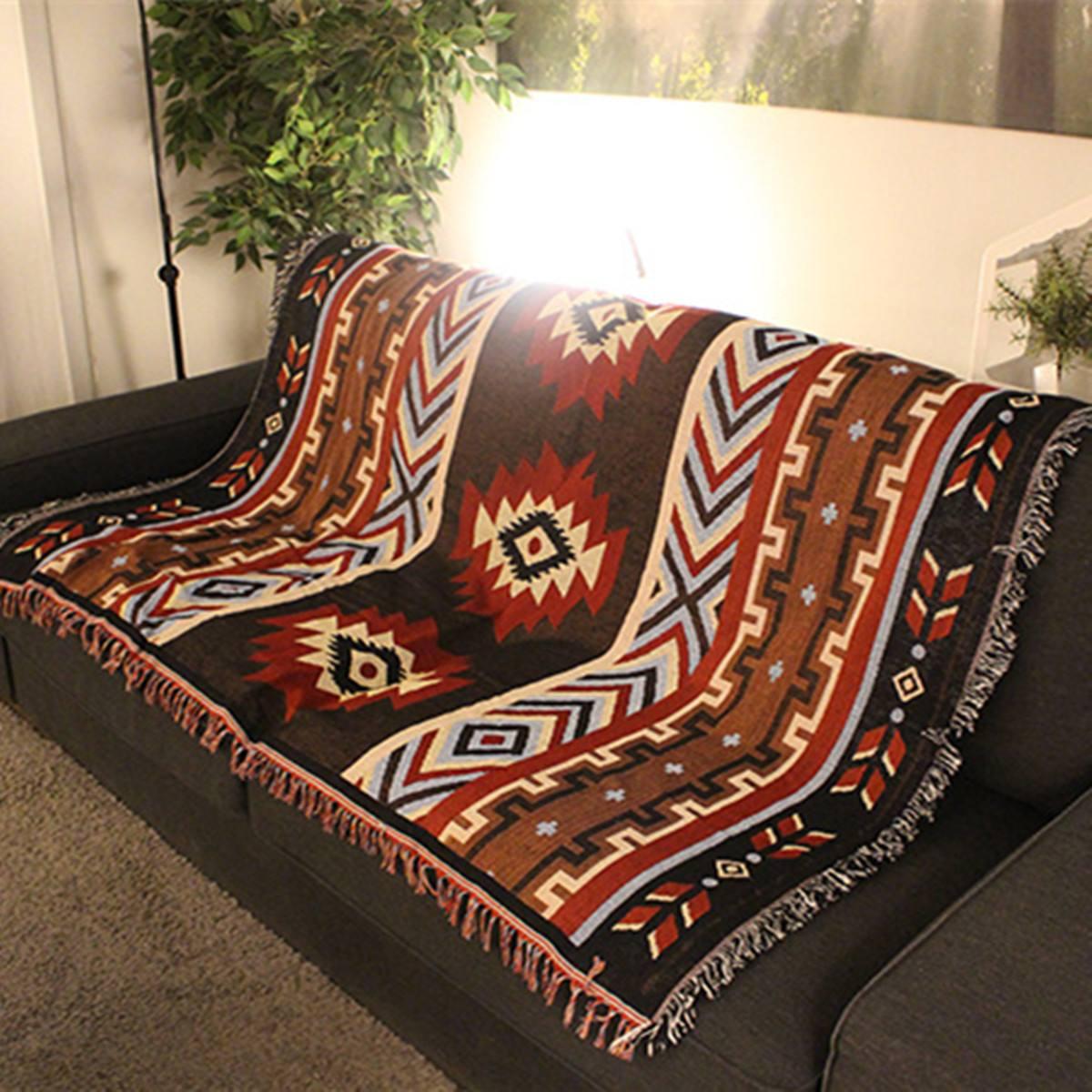 Manta azteca Navajo, Alfombra de algodón para colgar en la pared, alfombra, toalla tejida, Textiles geométricos, ropa de cama, decoración del hogar 130x160cm