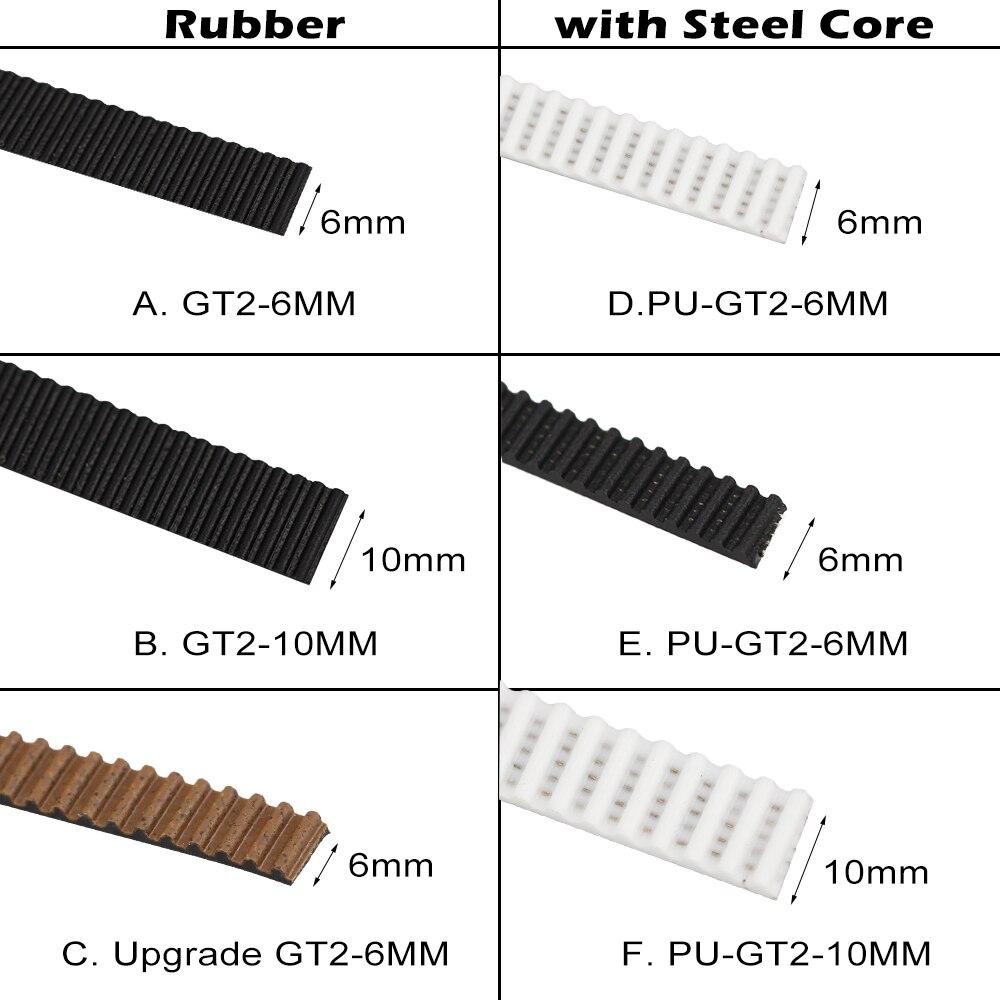 1 metro de goma/PU con núcleo de acero Gt2 correa de distribución GT2 6mm/10mm de ancho para impresora 3d
