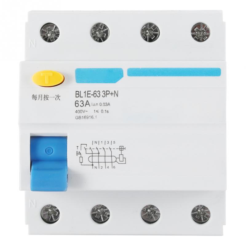 Disyuntor de corriente residual 30mA RCCB BL1E-63 3P + N 63A AC230V protección contra fugas eléctricas Mini disyuntor seguridad