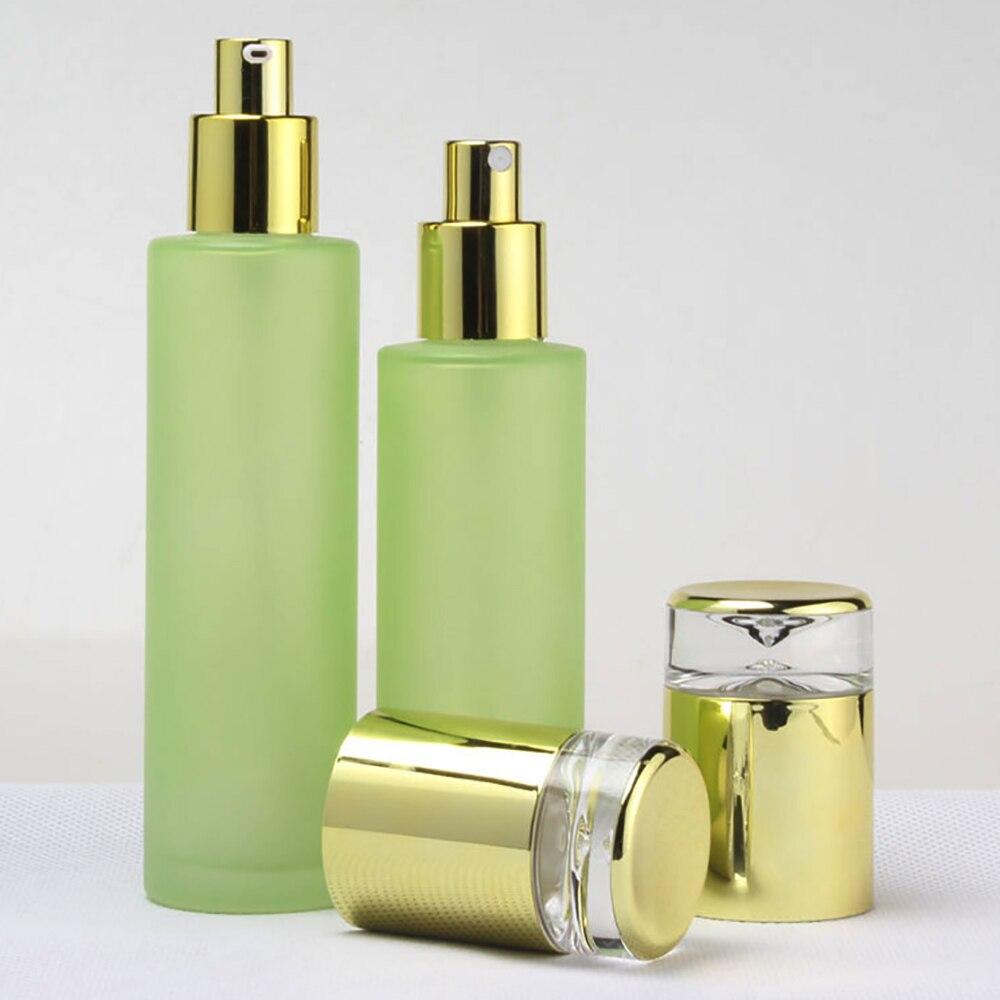 ¡Venta al por mayor! botella de tóner verde esmerilado 80ml botella para crema de vidrio para BB cream o foundtion cuidado de la piel