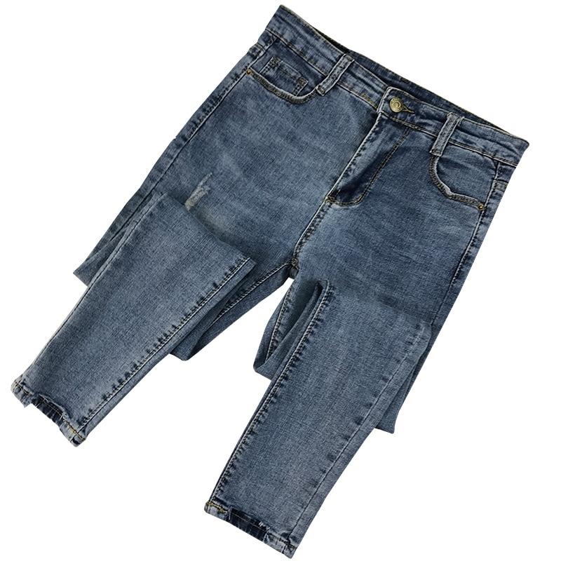 2020 New Fashion Women Ripped Holes Pencil Pants High Waist Slim Elastic Skinny Denim Pants Trousers Fit Lady Jeans Plus Size