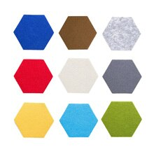 Tablero hexagonal de corcho/tablero de alfiler, paquete de 9 coloridos azulejos de pared, tablero de fieltro para notas, pegatinas de pared, decoraciones para el hogar