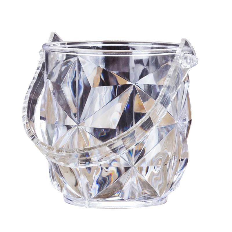 1 cubeta de hielo redonda, portátil, acrílica, transparente, contenedor de hielo, conjunto de vino con pinzas de hielo para Bar de restaurante KTV
