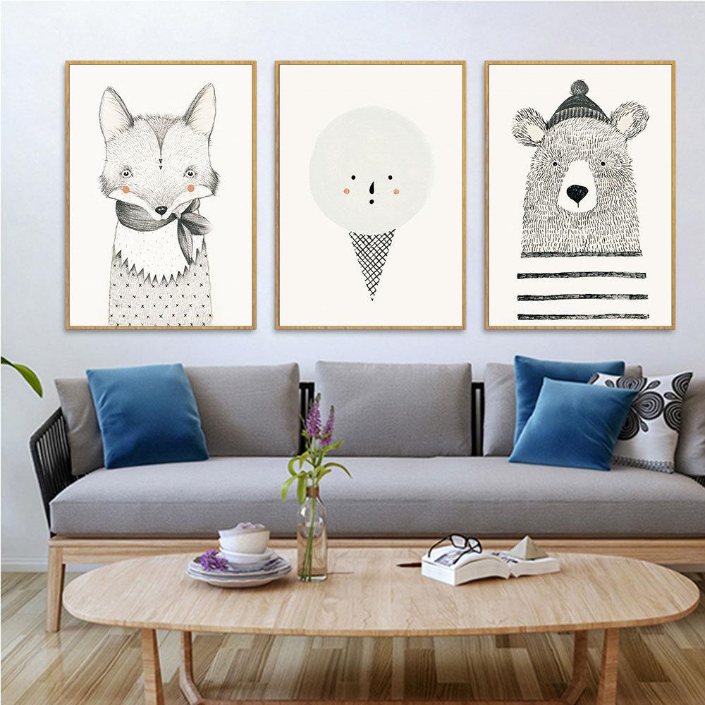 Nordic simples moderno dos desenhos animados animais decorativos pintura sala de estar quarto amostra sem moldura pintura da parede arte da lona imagem