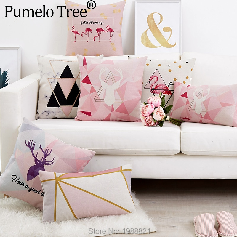 Funda de cojín nórdico flamenco rosa ciervo geométrico decorativo funda de almohada de lino estampado funda de Cojines Decorativos Para sofá
