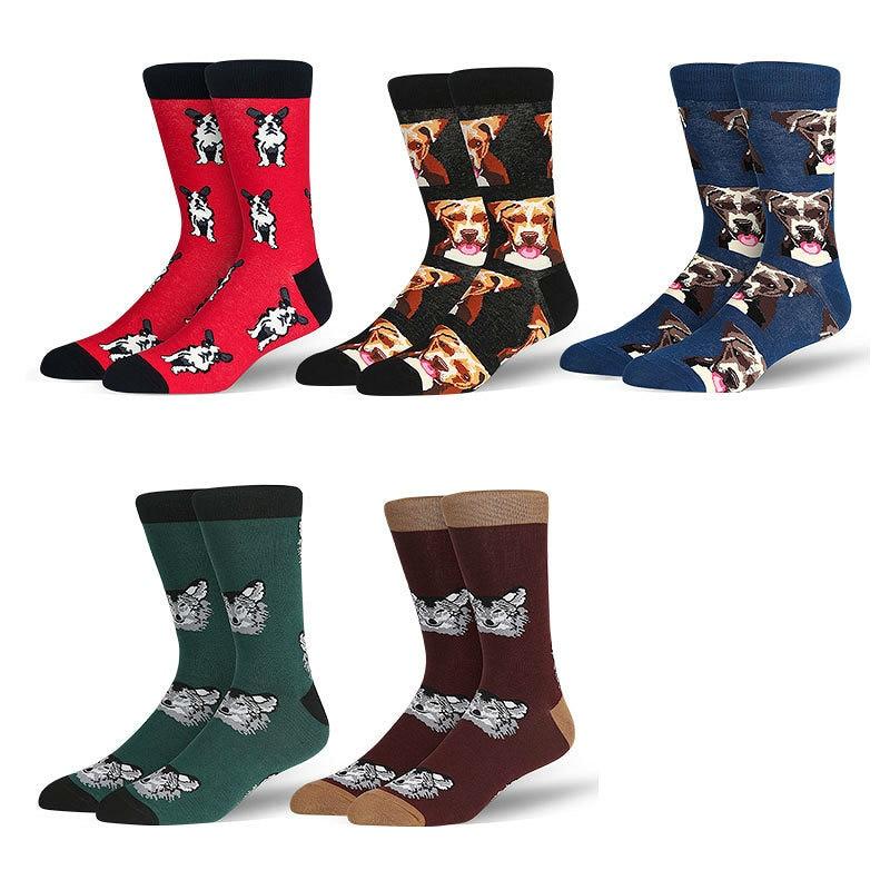 PEONFLY Men Fashion Cartoon Printing Cute Animals Dog Wolf Colorful Happy Socks Original Soft Comfortable Cotton Socks