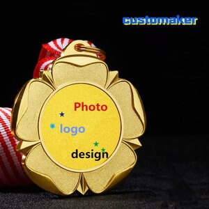 10pcs Kids Children's Gold Winner Medals with Ribbon Custom made text double side customized 1st 2nd 3rd Place Awards