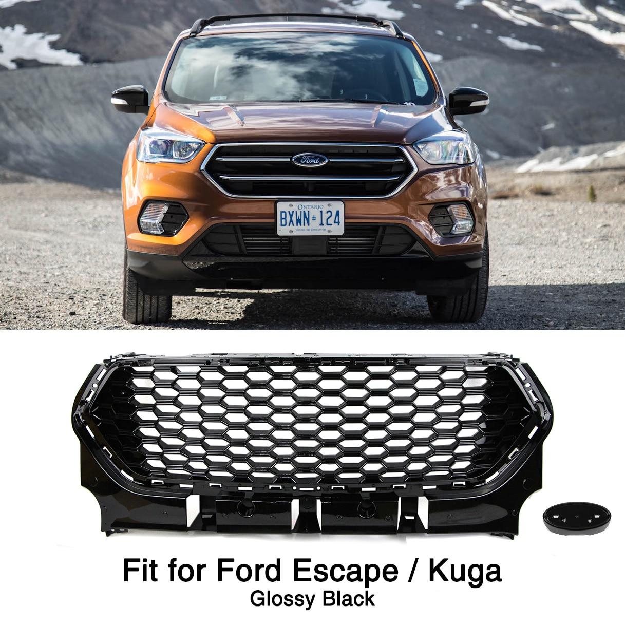 Rejilla de parachoques frontal negro brillante para Ford Escape Kuga 2017 2018 2019 Parrilla de malla de nido de abeja
