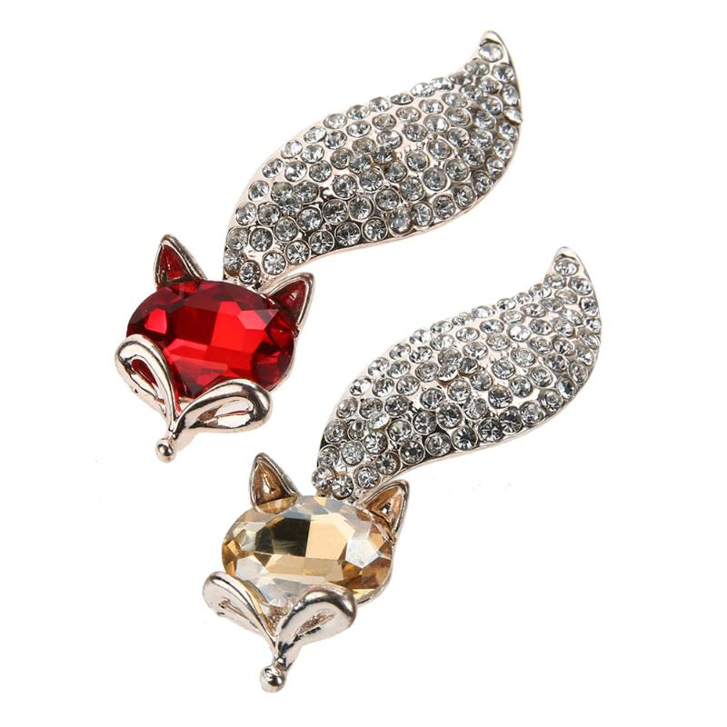 Fashion Fox Shape Brooch Women Red Color Crystal  Cute Fox Brooch for Women Dress Decorative Pins Valentines Day