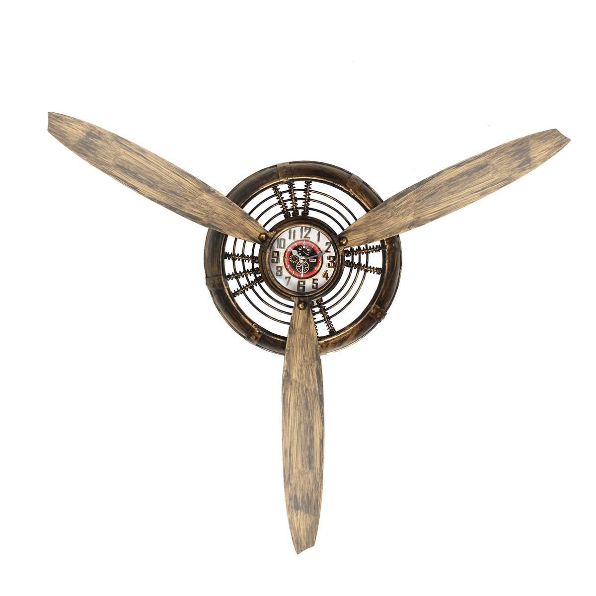 Reloj de pared metal decorativo Estilo Vintage Bar hogar Decoración Para sala de estar aire avión hélice Europa Industrial adorno colgante en la pared arte