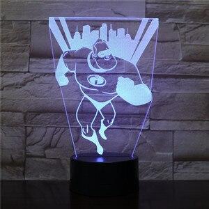 The Incredibles 2 USB 3D LED ночник Mr Incredible Bob Parr Фигурное украшение для мальчиков детские подарки для малышей настольная лампа кровать 2475