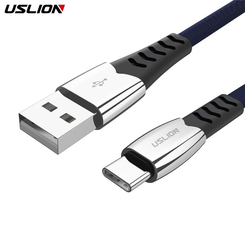 USLION de aleación de tipo C Cable USB tipo C-C Cable para Huawei P20 Lite Pro 2A USB Cable de carga para Samsung galaxy s9 s8 plus