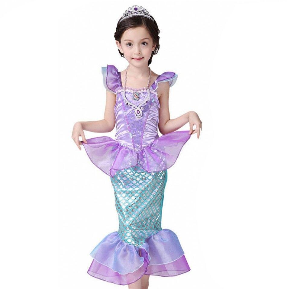 Костюм для маленьких девочек с хвостом Русалочки, платье для детей, одежда для девочек