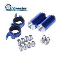 ESPEEDER High Flow Fuel Inline Fuel Petrol Filter Racing Oil Filter With AN10/AN8/AN6 Adapter Fittings Fuel Pump Bracket Blue