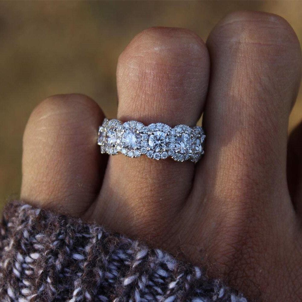 S925 Sterling silber Diamant Ring für Frauen Dame Anillos Bizuteria 2 Karat Diamant silber 925 schmuck ring bague bijoux femme