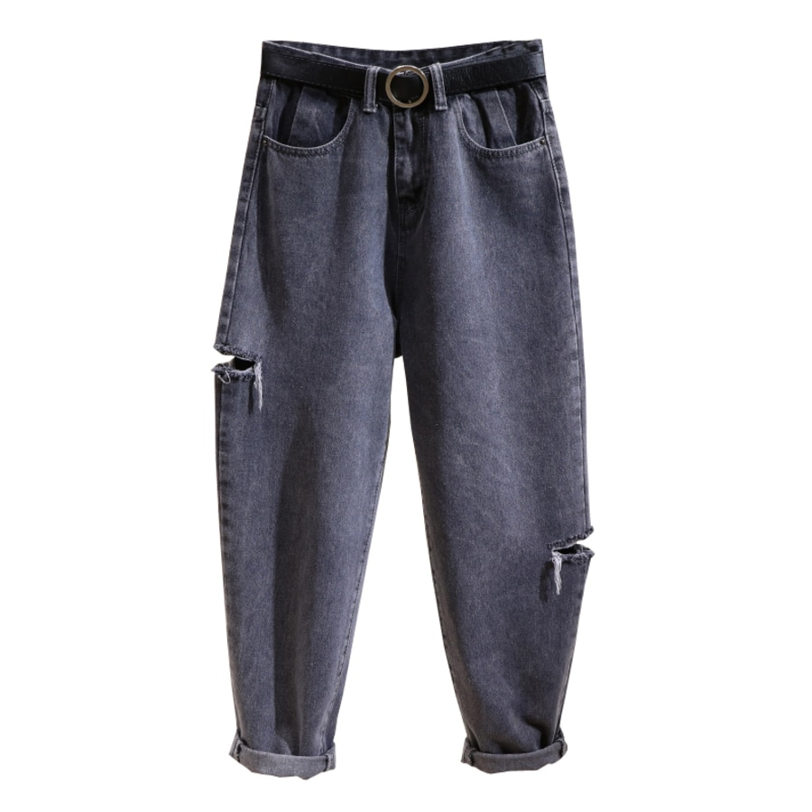 Spring Summer Women Denim Pants High Waist Casual Loose Ripped Hole Harem Pants Boyfriend Jeans For Women недорого