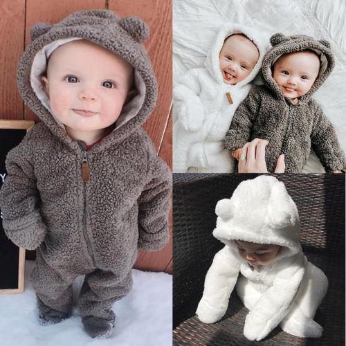Pelele peludo de algodón suave para recién nacido, Pelele con capucha para niño y niña, pelele, mono de invierno Otoño, ropa para niños pequeños