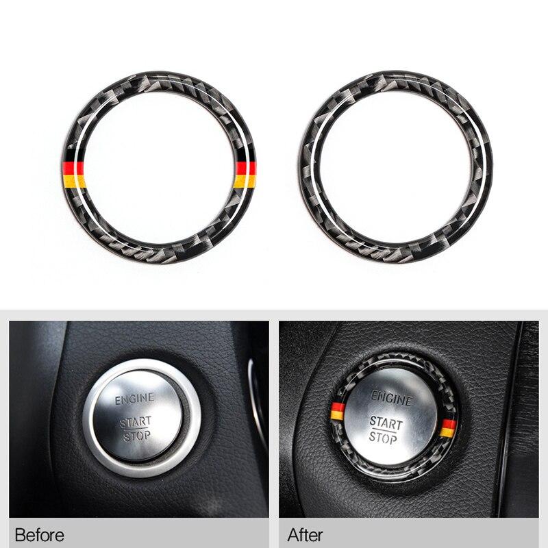 Fibra de carbono de coche, tope de arranque del motor para botón de arranque, ajuste del llavero para Mercedes Benz C E clase W205 W213 C180 C200 C300 GLC